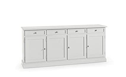 Credenza Moderna 4 Ante Basic : Credenza madia legno 4 ante e cassetti bianca. classica moderna