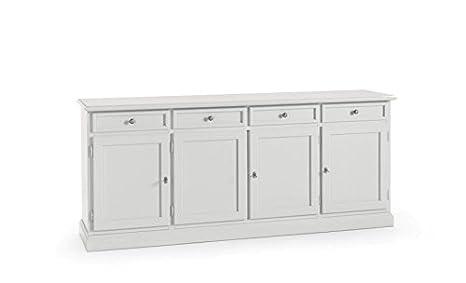 Credenza Moderna 4 Ante Basic : Credenza moderna ante in legno laccato bianco lucido amazon