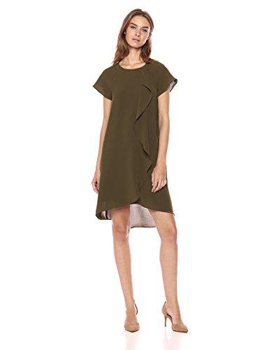 - Adrianna Papell Women's Gauzy Crepe Corkscrew Drape Dress, Olive, 10