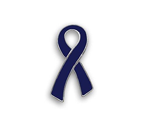 25 Pack Dark Blue Awareness Large Flat Ribbon Pins (25 Pins in Bulk)