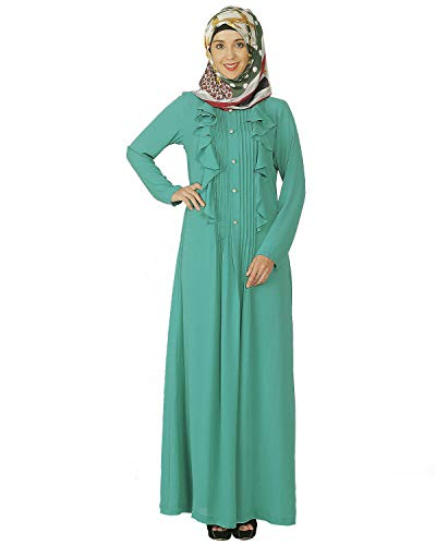 Modest Forever Sea Foam Green Ruffled Abaya Burkha for Women