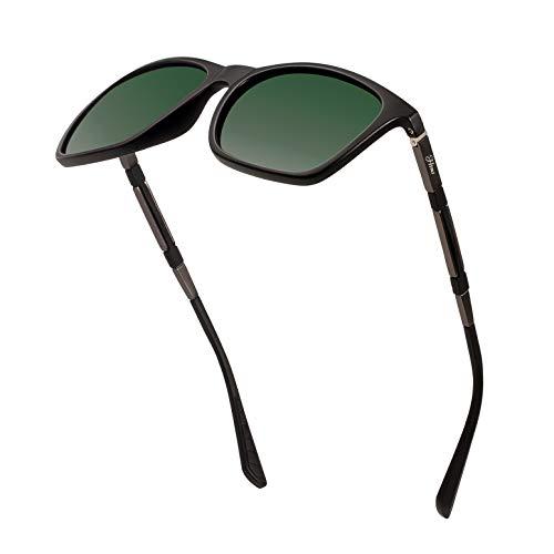 Frame Sunglasses Alloy - Men's Polarized Driving Sunglasses Retro Square Aluminum magnesium Alloy Temple Sun Glasses Unbreakable Spring Hinges Eyewear UV400 (DarkGreen Lens/MatteBlack Frame)