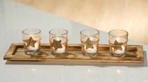 Set con Vassoio In Legno e 4 Portacandele tea light con Decorazione Stelle anche rimovibile Depesche