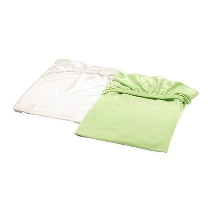 Ikea Len – Sábana bajera para cuna; en blanco y verde; 100% algodón