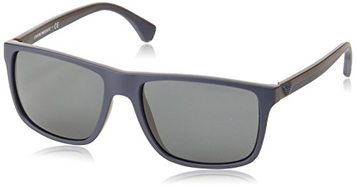 Emporio Armani EA 4033 5230/87 Square Sunglasses Top Blue Rubber Brown/Grey - Sunglasses Armani Blue