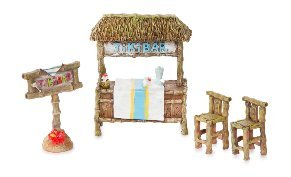 Tropical Tiki Bar Figurines Set of 4 Beach