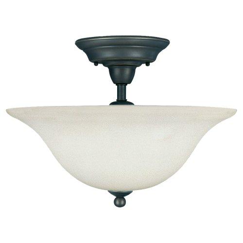 Sea Gull Lighting 75061-782 Sussex Three-Light Semi-Flush Mount Hanging Modern Light Fixture, Heirloom Bronze Finish