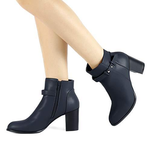 f58fba61b1f0 Allegra K Women s Round Toe Strap Decor Block High Heel Bootie Christmas  Boots