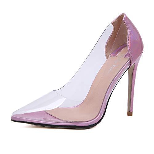 Transparentes Para Sandalias Color Poca Alto Y Purple Con Zapatos Mujer Profundidad Fengjingyuan Tacón Degradado Mujer En De 5I4xwqI