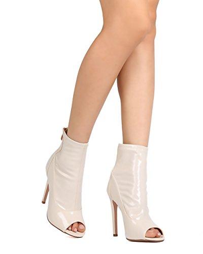 Cape Robbin Fg71 Kvinnor Patent Läder Peep Toe Stilett Toffeln Naken