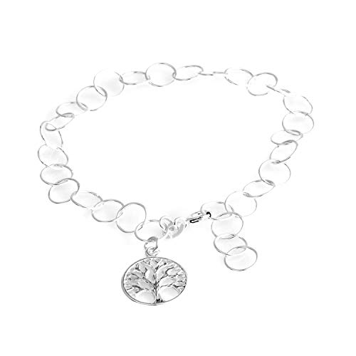 Tree of Life Beach Anklet Charm Bracelet 925 Sterling Silver Jewelry for Women Gift Size - Basket Charm Silver Sterling