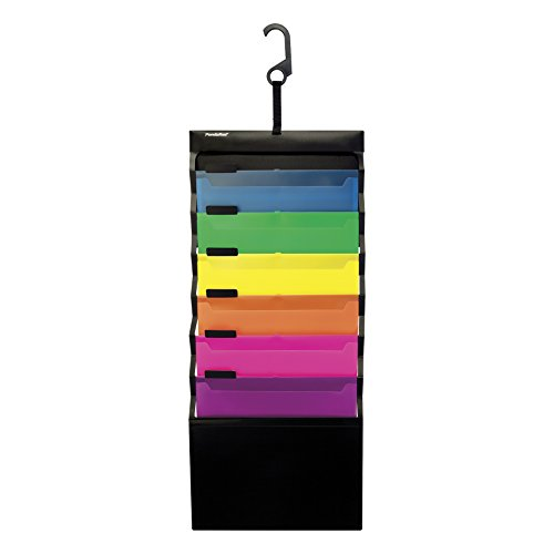 Pendaflex Hanging Organizer, All-in-1 Wall Organizer/Pocket Chart, Black with Bright Color Folders, Poly Carry Case, Letter Size (52891)]()