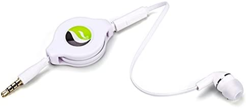 Premium Retractable Headset Mono Hands-Free Earphone Mic Single Earbud Headphone Earpiece in-Ear Wired [3.5mm] White Compatible with LG G Pad F2 (8.0) - Motorola Moto G6 - OnePlus 6