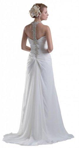 White Women's Court A Line Neck Dearta Train V Chiffon Wedding Dresses qZvwdaxPg