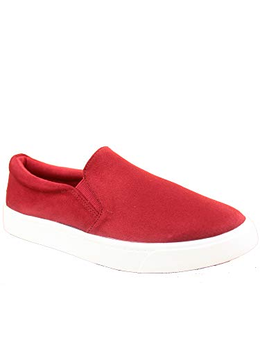 FZ-Reign-s Women's Fashion Classic Slip On Flat Heel Round Toe Sneaker Deck Shoes Cherry