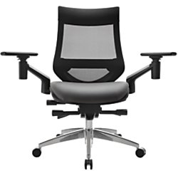 WorkPro 1500 Series Bonded Leather Mid-Back Multifunction Chair, Black/Gray