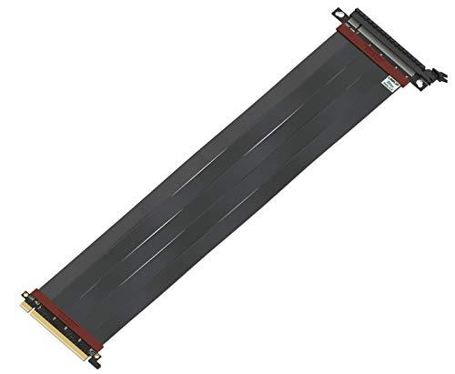 LINKUP - Ultra PCIe 4.0 X16 Riser Kabel [x570 RX5700XT Getestet] Geschirmte Twinaxial Vertikale Steigleitung Portverlängerungs Gen4 | Gerade Buchse {40 cm} PCI Express 3.0 Gen3 und TT Kompatibel-