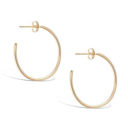 (Agvana Gold Plated Sterling Silver Medium Dainty Thin Tube Oval Half Open Post Hoop Earrings Jewelry Gift for Women Girls, Size: 30mm-25mm )