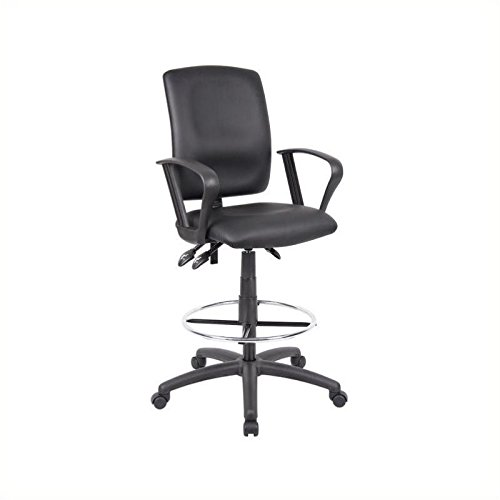 Pemberly Row Multi Function Leather Drafting Chair with Loop Arms