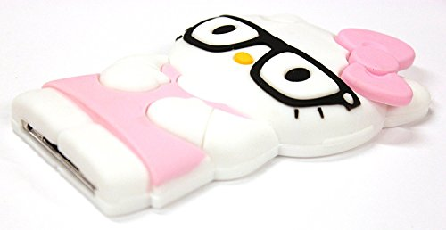 Bukit Cell BABY PINK 3D Hello Kitty with black glasses Itouch 4 Case - :Silicone Case ,BUKIT CELL Cloth, Screen Protecto , METALLIC Stylus Touch Pen
