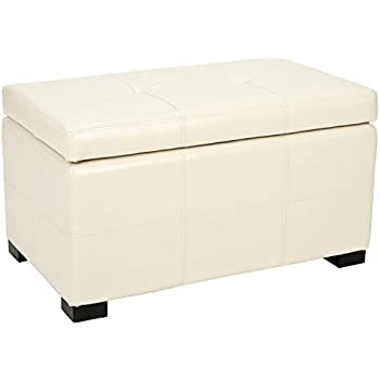 Safavieh Hudson Collection Noho Tufted Cream Leather Storage Bench, Small