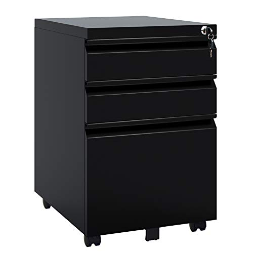 - DEVAISE 3 Drawer Mobile File Cabinet with Lock, Metal Filing Cabinet Legal/Letter Size, Fully Assembled, Black