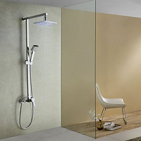 Sprinkle Color Changing LED Shower Faucet With Wall Mount Square 8 Inch  Fixed Shower Head Handheld