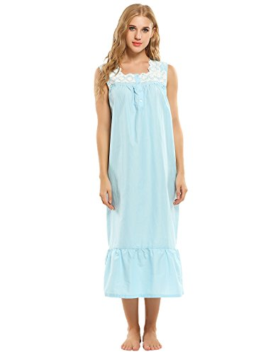 Ekouaer Nightgown Victorian Sleeveless Sleepwear