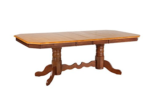 Sunset Trading DLU-TCP4284-NLO Oak Selections Dining Table Light Finish top with Medium Walnut Pedestal ()