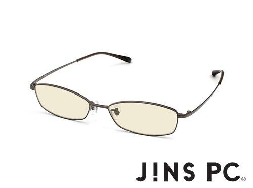 【JINS PC メタル スクエア】PC(ディスプレイ)専用メガネ(度なし) (GUNMETAL)