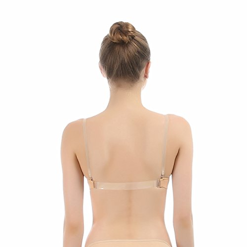 [iMucci Beige Clear Back Bra with Transition Straps for Adult Cup B] (Illusion Dance Costumes)