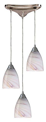 Pierra 3 Light Pendant - Pierra 3 Light Pendant in Satin Nickel and Cream Glass
