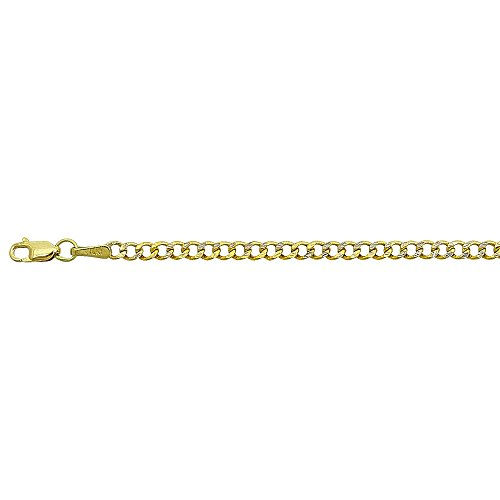 14kt Gold Pave Curb Chain (14K Yellow Gold 2.50mm 24