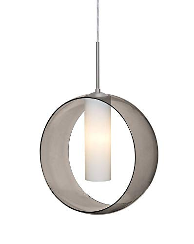 Besa Lighting 1JT-PLATOSM-SN Plato - One Light Cord Pendant, Satin Nickel Finish with Smoke/Opal Glass