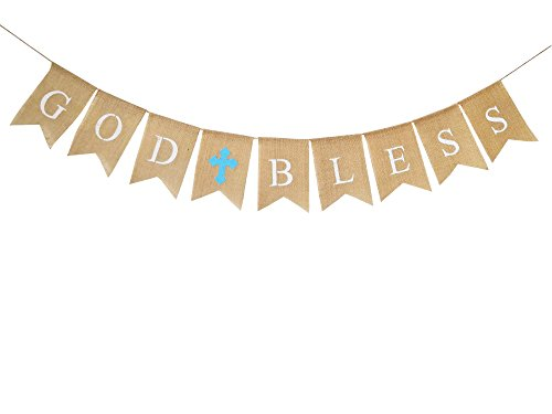 GOD BLESS Burlap Banner,Communion Party Banner,TrendPow Christening Baptism Decoration for Wedding,Bridal Shower,Baby Shower Party