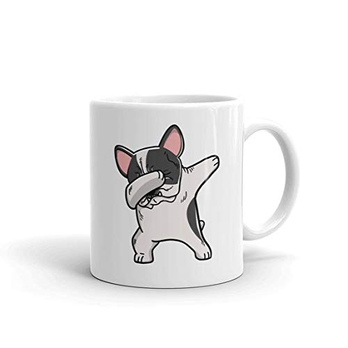 Bulldog Pied French (Pied French Bulldog Dabbing Ceramic Coffee Mug, Funny Frenchie Dog Dab Gift)