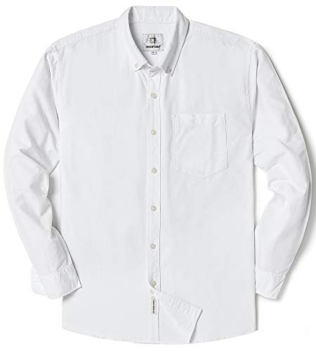 Men's Oxford Long Sleeve Button Down Dress Shirt with Pocket,White,Large ()