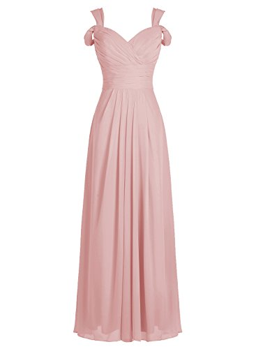 ALAGIRLS Women's Sweetheart Off The Shoulder Long Chiffon Bridesmaid Dress Evening Gown Blush US10