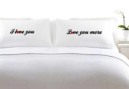 I Love You - Love You More Heart Set of 2 Pillowcases for Couples Bedroom (King, White) (Custom Gifts And More compare prices)