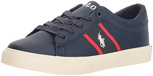 Polo Ralph Lauren Kids Boys' Geoff Sneaker, Tumbled Navy/Red w/Cream PP, M125 M US Little Kid -