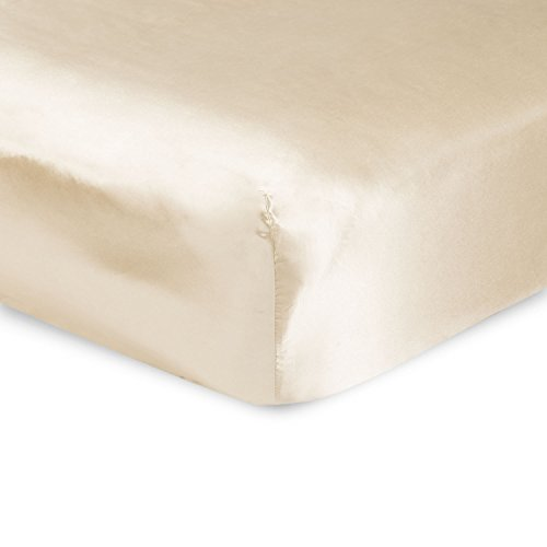 Sweet Dreams Silky Satin Fitted Sheets - King, Ivory, Wrinkle Free and Stain Resistant Super Soft Luxury Satin Bed Sheets with Extra Deep Pockets