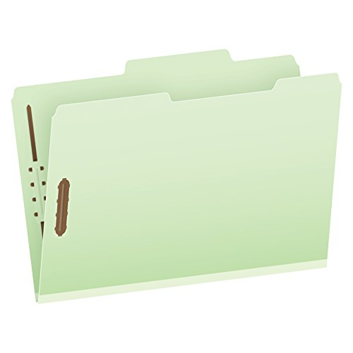 Pendaflex Pressboard Fastener Folders, Legal Size, Light Green, 1'' Expansion, 2/5 Cut ROC, 25/BX (29980) by Globe Weis