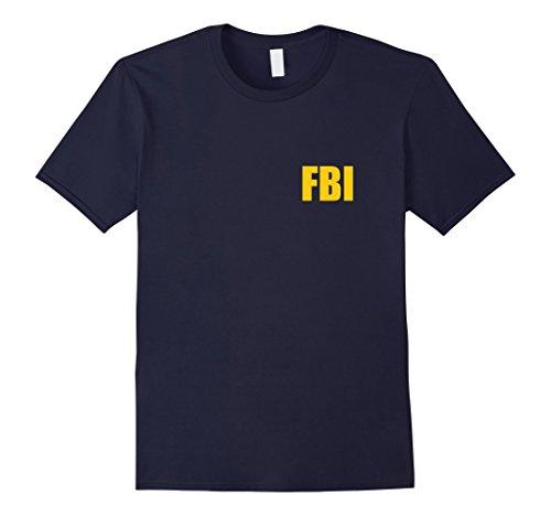Mens FBI Agent Funny Halloween Costume Front Back Tee Shirt XL (Fbi Halloween)