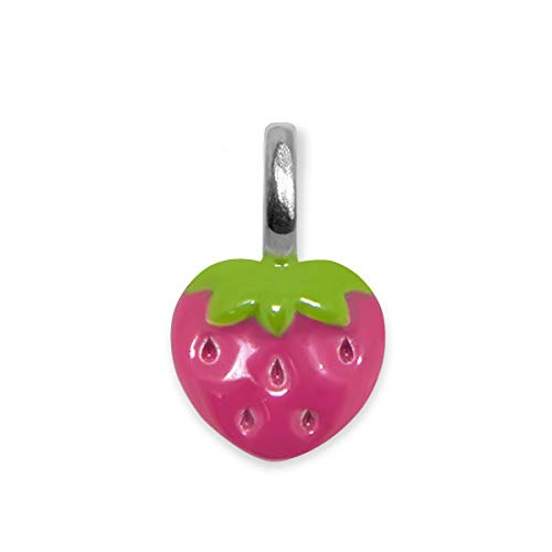 - Alex Woo Sterling Silver Mini Addition Strawberry Enamel Charm, Hot Pink and Green, 0