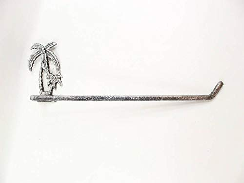 Rustic Silver Cast Iron Palm Tree Wall Mounted Paper Towel Holder 17