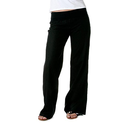 Love Tree Womens Fold-Over Waist Linen Pants (Black, Large)