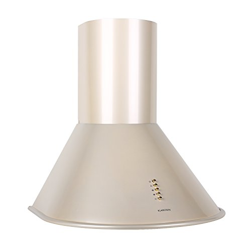 Range Hood Exhaust Grease Fan (KLARSTEIN Lumio • Wall Mount Kitchen Range Hood • 3 Speed • LED Lights • Push Button Control • Stainless Steel • 23.6 inches • Champagne)