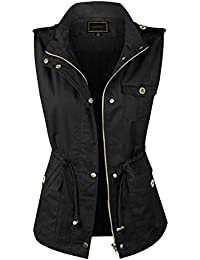 Womens Anorak Military Utility Jacket Vest w/Drawstring [S-3XL]