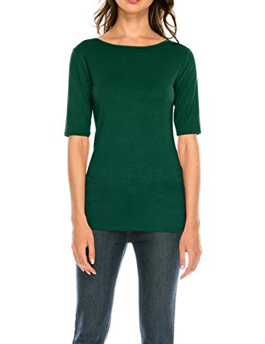 Reversible Knit Top - CLEMONCE Women's Reversible Boat Neck V-Neck Half Seeve Top Huntergreen M