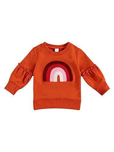 키즈 소녀 탑 가을 셔츠 라운드 넥 긴 소매 캐주얼 탄성 커프 밑단 방풍 따뜻한 레인보우 블라우스